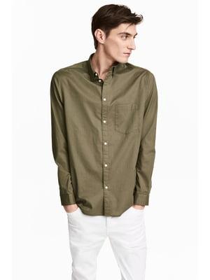 Сорочка кольору хакі | 5666808