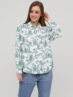 Рубашка белая в принт | 5667405