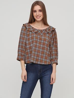 Блуза коричневая в клетку | 5667444