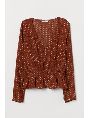 Блуза коричневая в горошок   5667501