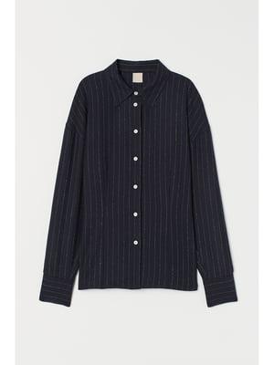 Сорочка темно-синя в смужку | 5667537