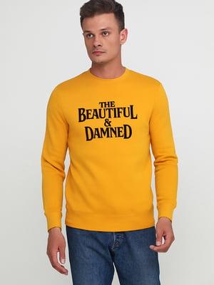 Свитшот горчичного цвета с принтом | 5239588