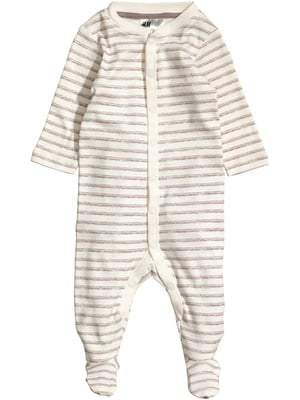 Пижама-человечек бежевая в полоску | 5668011