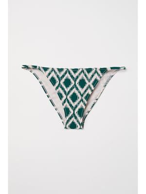 Купальные трусы темно-зеленые в орнамент | 5668454