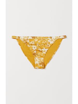 Купальные трусы желтые в цветочный принт | 5668611