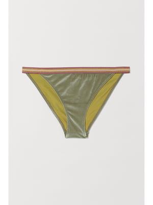 Купальні труси кольору хакі у принт | 5668627