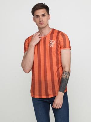 Футболка помаранчева у смужку | 5675719