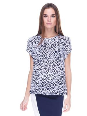 Блуза белая в абстрактный принт | 1800592