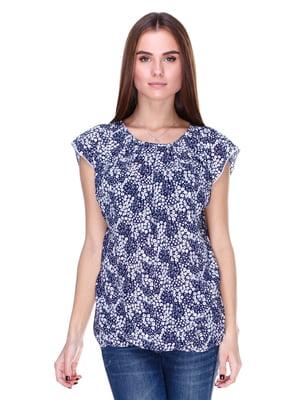 Блуза сине-белая в принт | 1800603