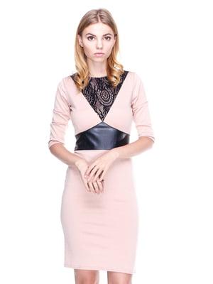 Платье бежевое со вставками | 1800664