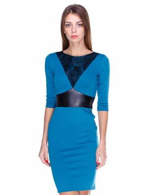 Платье бирюзовое со вставками | 1800667