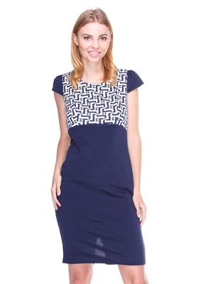 Платье синее с рисунком | 1800698