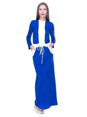 Платье синее с отделкой | 1889176