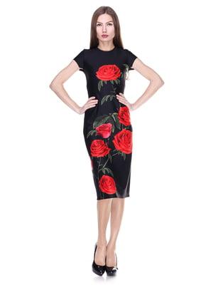 Платье черное в цветочный принт | 2006037