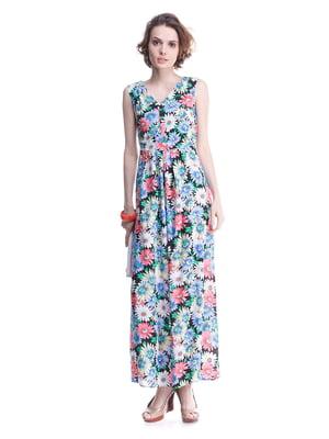 Платье черное с цветочным принтом | 2034802