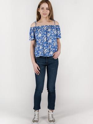 Блуза синя в принт | 5676329