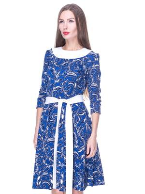 Платье синее в узор | 1889184