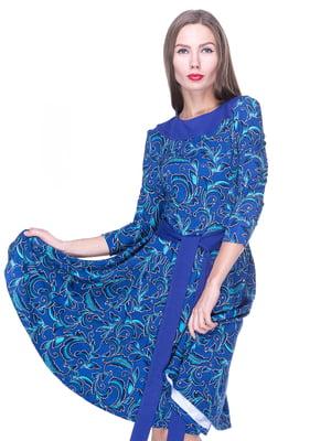 Платье синее в узор | 1889185