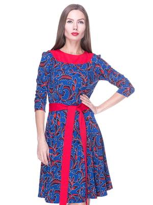 Платье синее в узор | 1889186