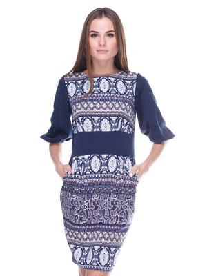 Платье синее с принтом | 1915428