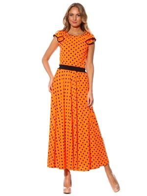 Платье оранжевое в горошек | 3351400