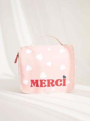 Косметичка рожевого кольору в принт | 5676643