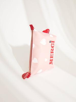 Косметичка рожевого кольору в принт | 5676655