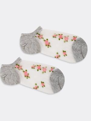 Носки серо-белого цвета в цветочный принт   5664849