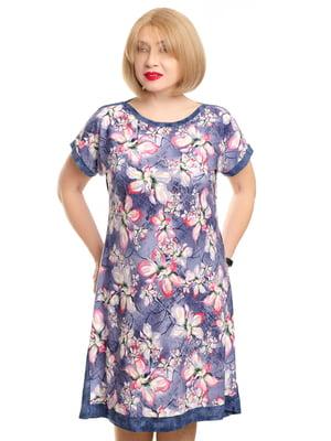 Платье сиреневого цвета в цветочный принт | 5676752