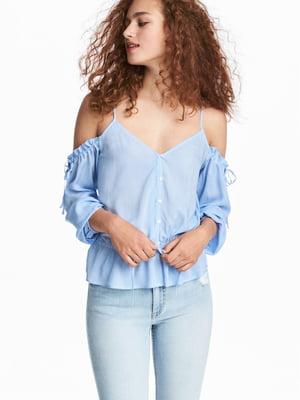 Блуза блакитна в смужку | 5632555