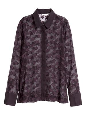 Блуза слиового цвета с рисунком | 5632587