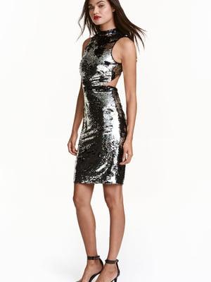 Сукня чорно-срібляста декорована | 5632756