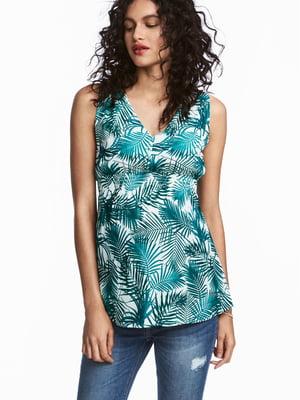 Блуза для беременных бело-зеленая с принтом | 5676984