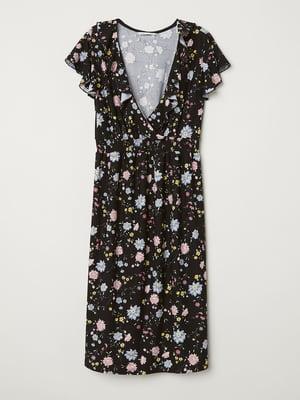 Платье для беременных черное с цветочным принтом   5677356