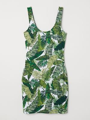Сукня біло-зелена з принтом   5677384