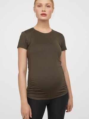 Футболка спортивна для вагітних кольору хакі | 5677776
