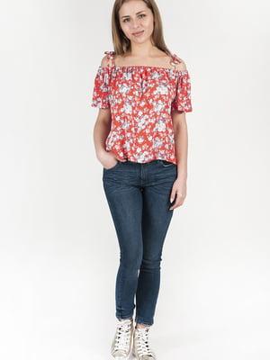 Блуза червона в принт | 4226456