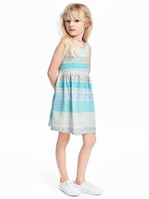 Платье голубое с узором   5671968