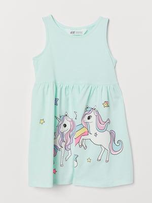 Платье голубое с рисунком   5672077