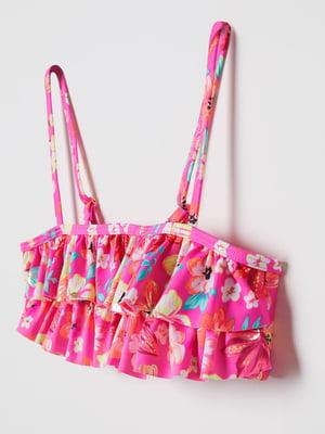 Топ купальний рожевий в принт | 5672351
