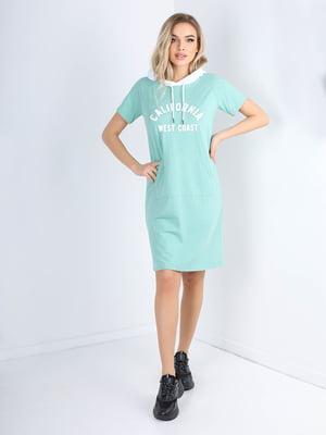 Сукня зелена з принтом | 5678349