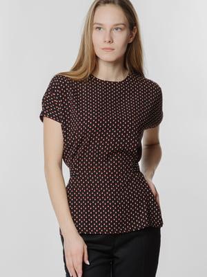 Блуза черная в принт | 5678926