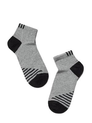 Носки спортивные серо-черные в полоску | 5673056