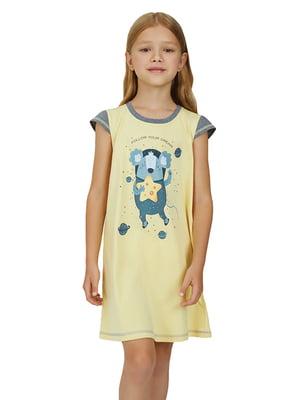 Рубашка ночная желтая с принтом   5679485