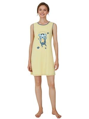 Рубашка ночная желтая с принтом | 5679745