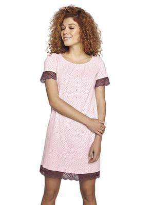 Рубашка ночная розового цвета в горошек | 5679754