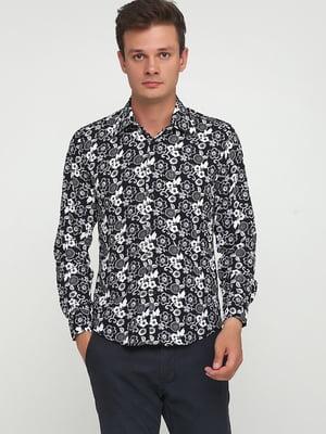 Рубашка черная в цветочный принт   5679906