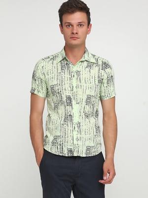 Рубашка салатового цвета в принт | 5679928