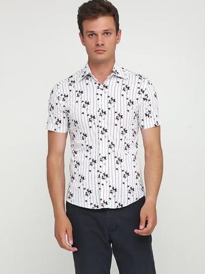 Рубашка белая в полоску и принт   5679941