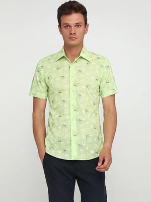 Рубашка салатового цвета в цветочный принт | 5679942